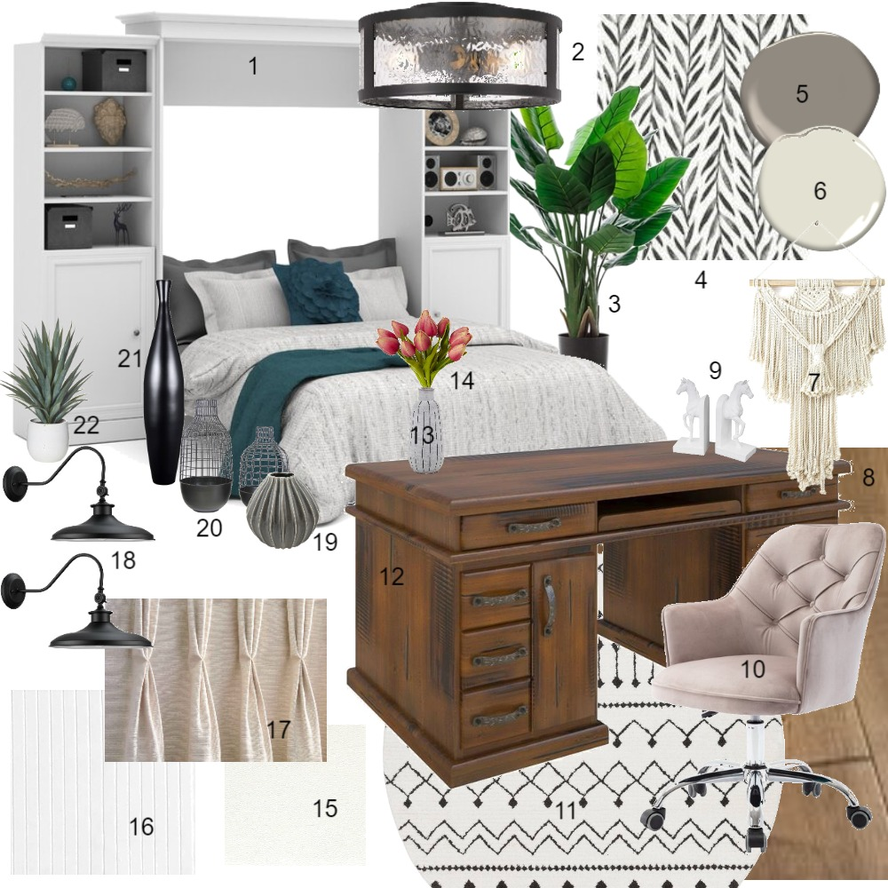 Monochromatic Office/Spare Room Interior Design Mood Board by CarlenaLandon on Style Sourcebook