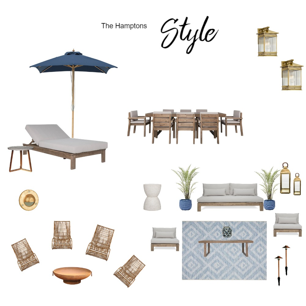 Hamptons Outdoor Glam Style Interior Design Mood Board by Lisa Harper Designs on Style Sourcebook