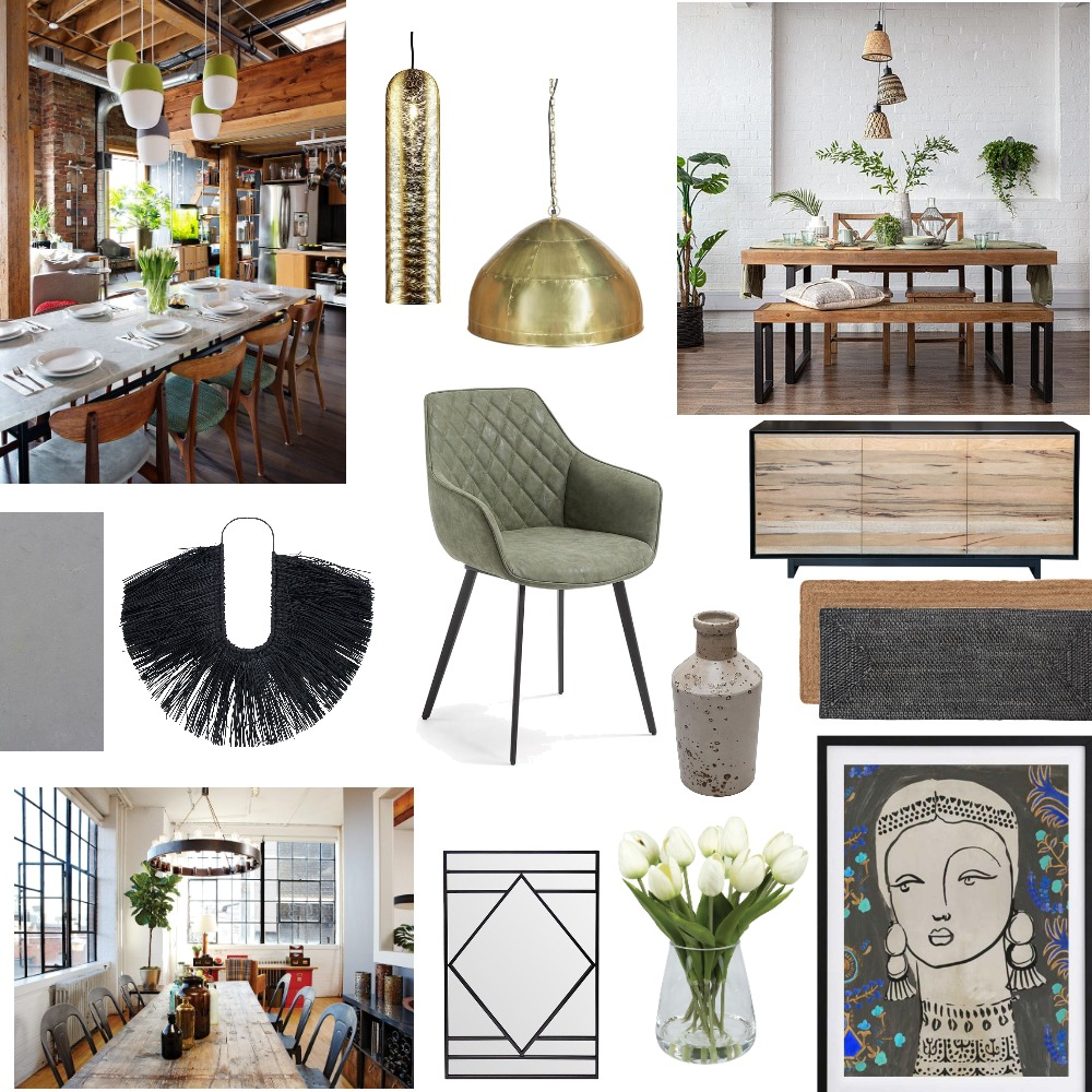 Warm Industrial Dining Interior Design Mood Board by kathvick on Style Sourcebook