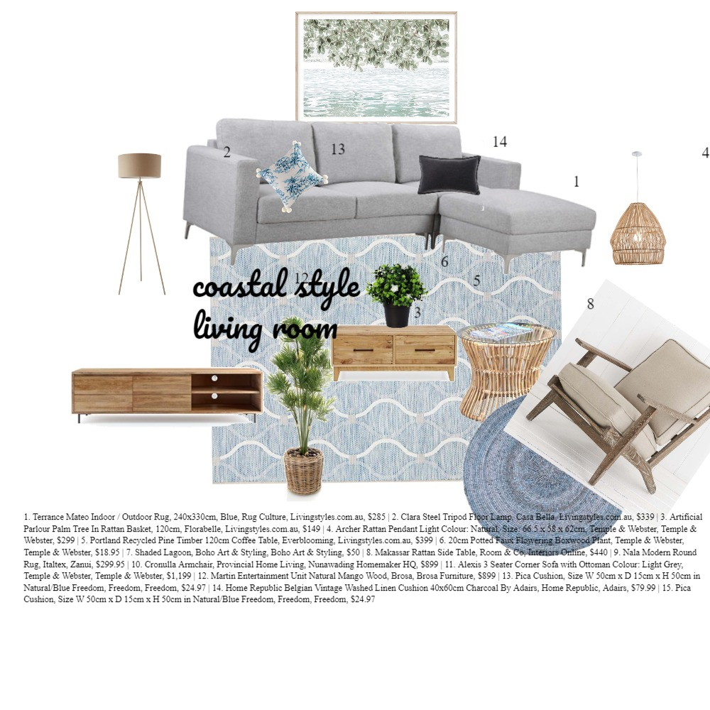 COASTAL LING ROOM WITH TAG Interior Design Mood Board by shaanthe.ramaswamy on Style Sourcebook