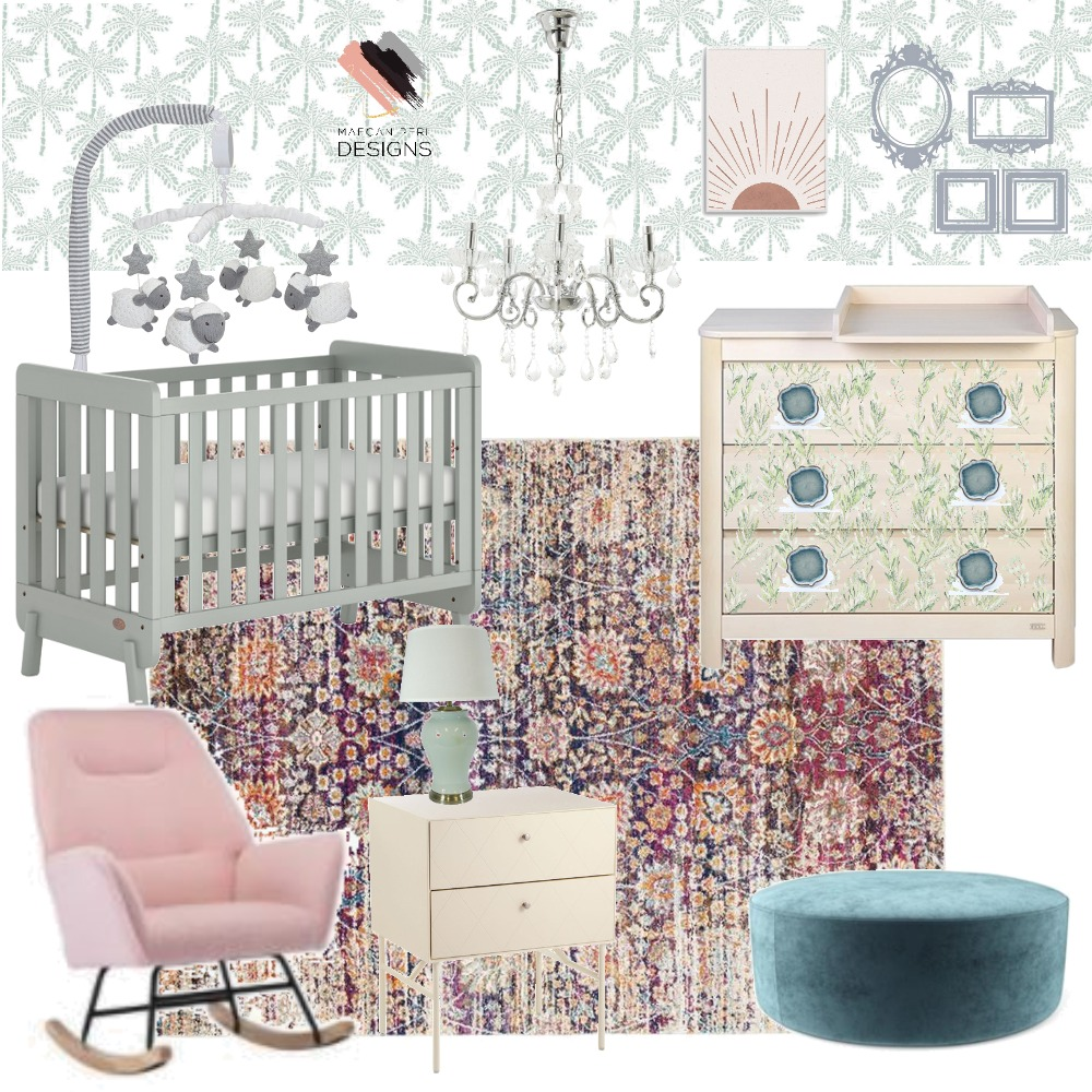 Baby Blue Girl Interior Design Mood Board by Maegan Perl Designs on Style Sourcebook
