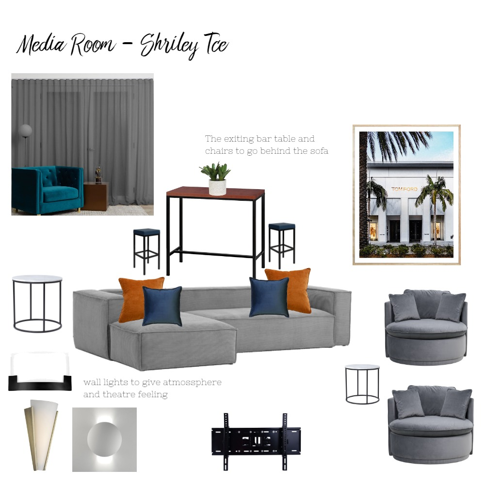 Media Room - Shirley Tce Interior Design Mood Board by katehunter on Style Sourcebook