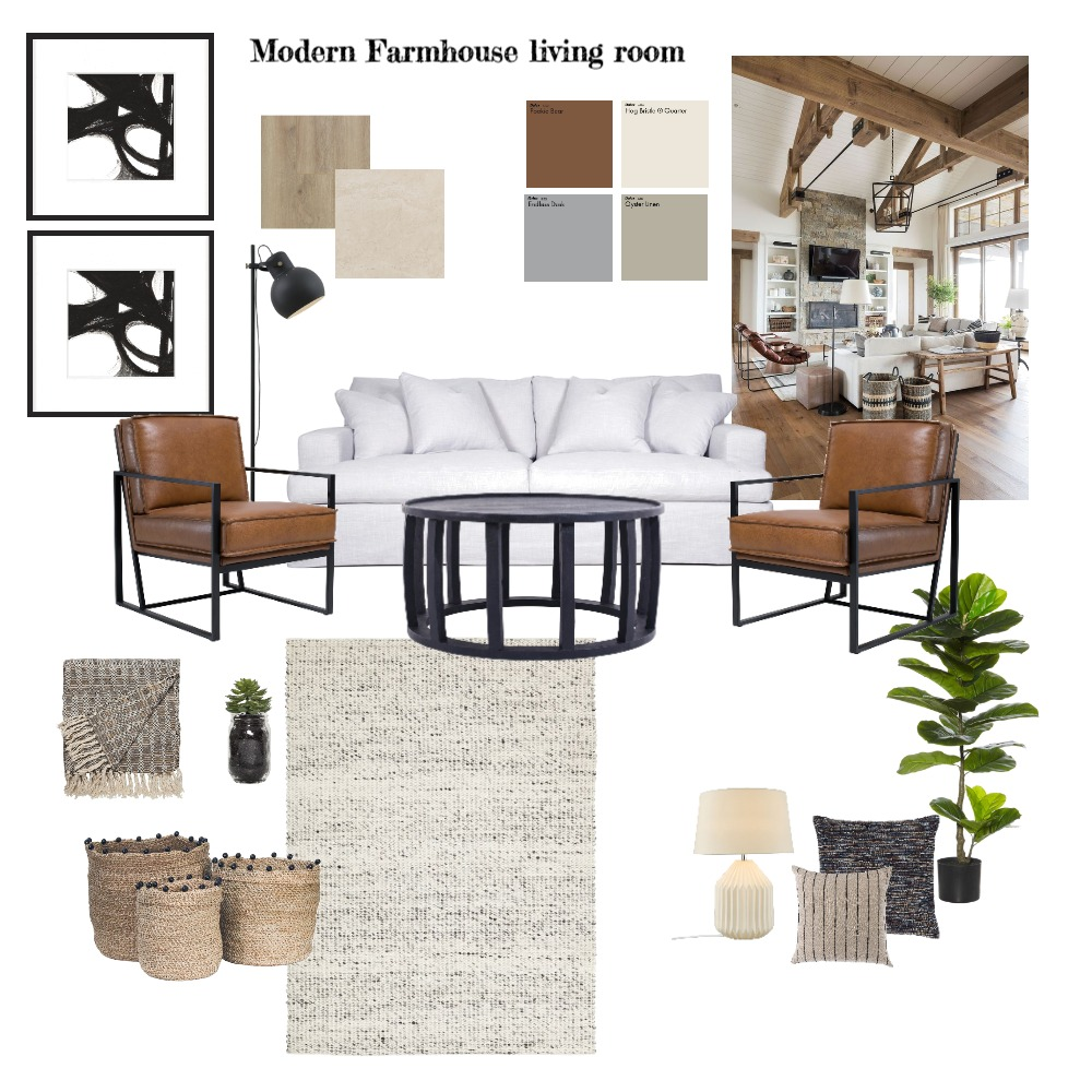 modern farmhouse living room Interior Design Mood Board by mahdokht on Style Sourcebook