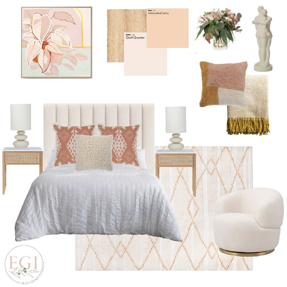 Autumn Bedroom Interior Design Mood Board by Eliza Grace Interiors on Style Sourcebook