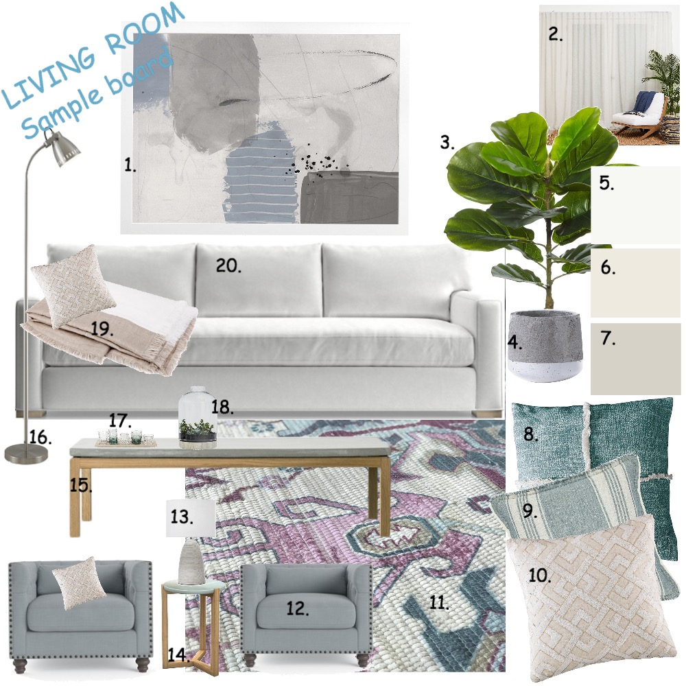 Living room Interior Design Mood Board by Rosi Pisani on Style Sourcebook
