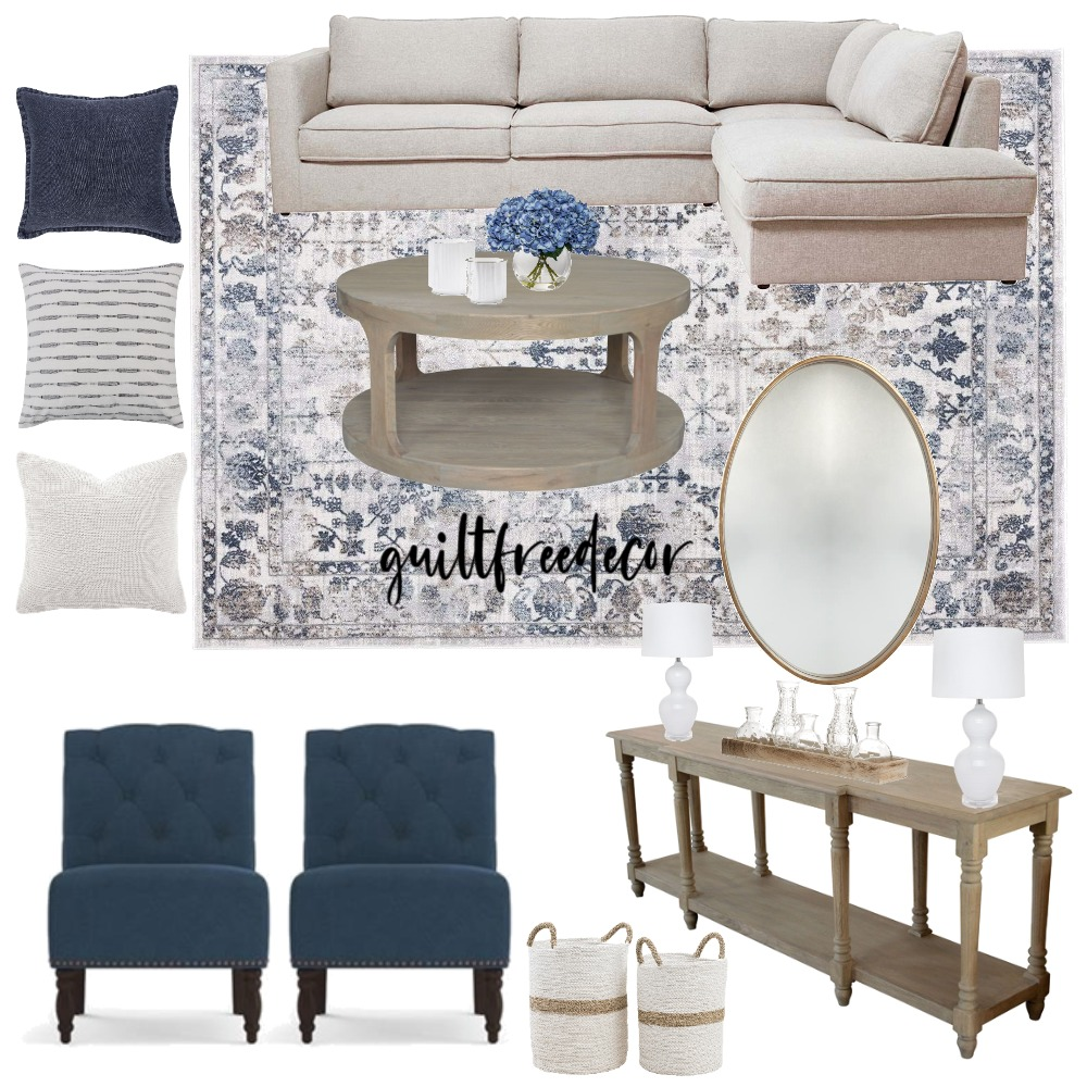 Farmhouse Traditional Living Room Interior Design Mood Board by guiltfreedecor on Style Sourcebook