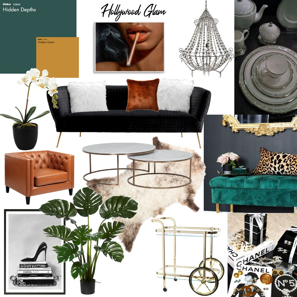 Hollywood Glam Interior Design Mood Board by Lani Terra on Style Sourcebook