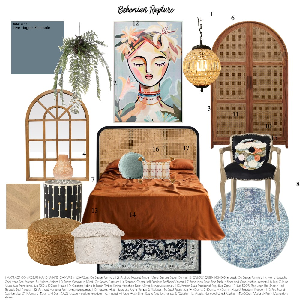 Bohemian Rapture Interior Design Mood Board by be elle interiors on Style Sourcebook