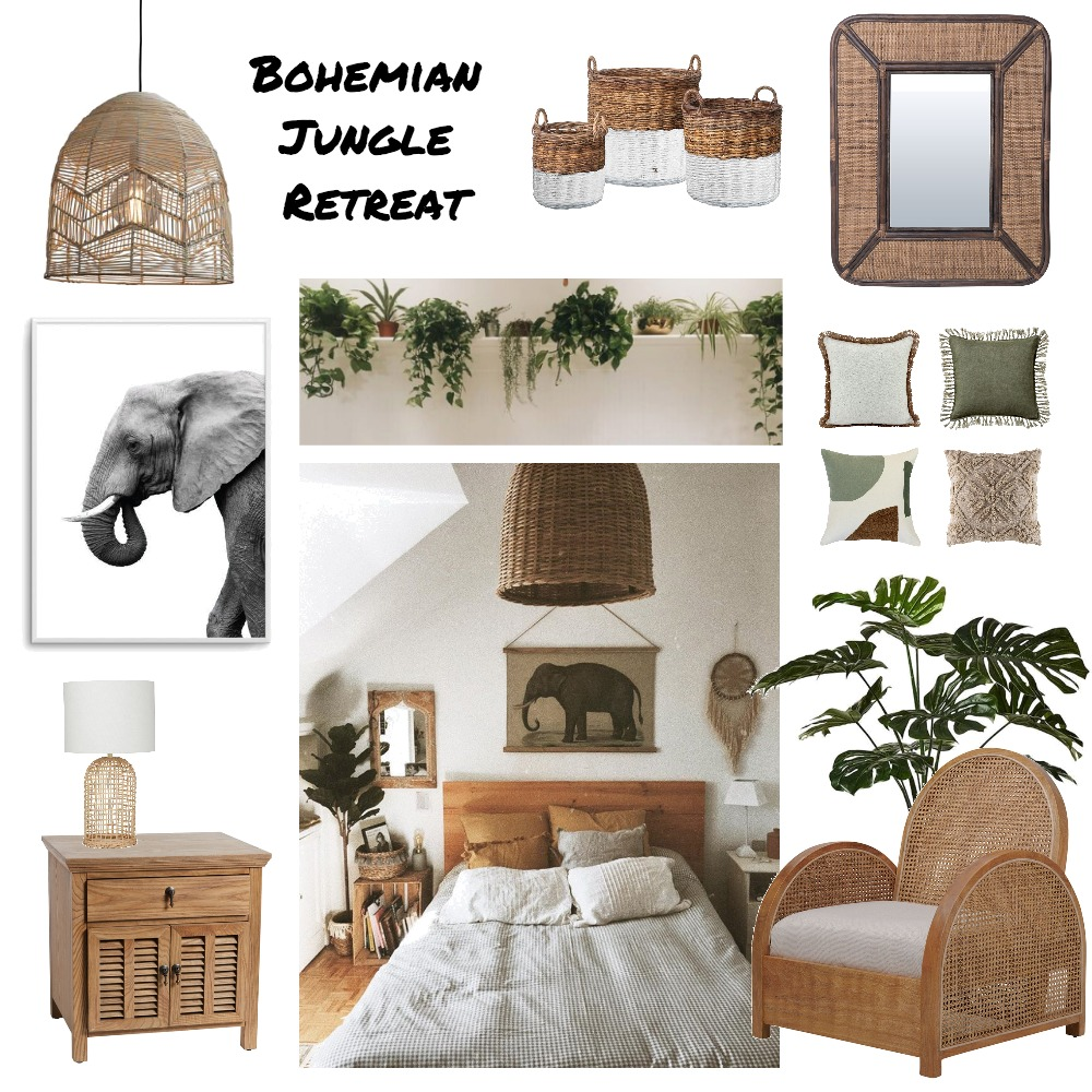 Boho Jungle Retreat Interior Design Mood Board by Ciara Kelly on Style Sourcebook