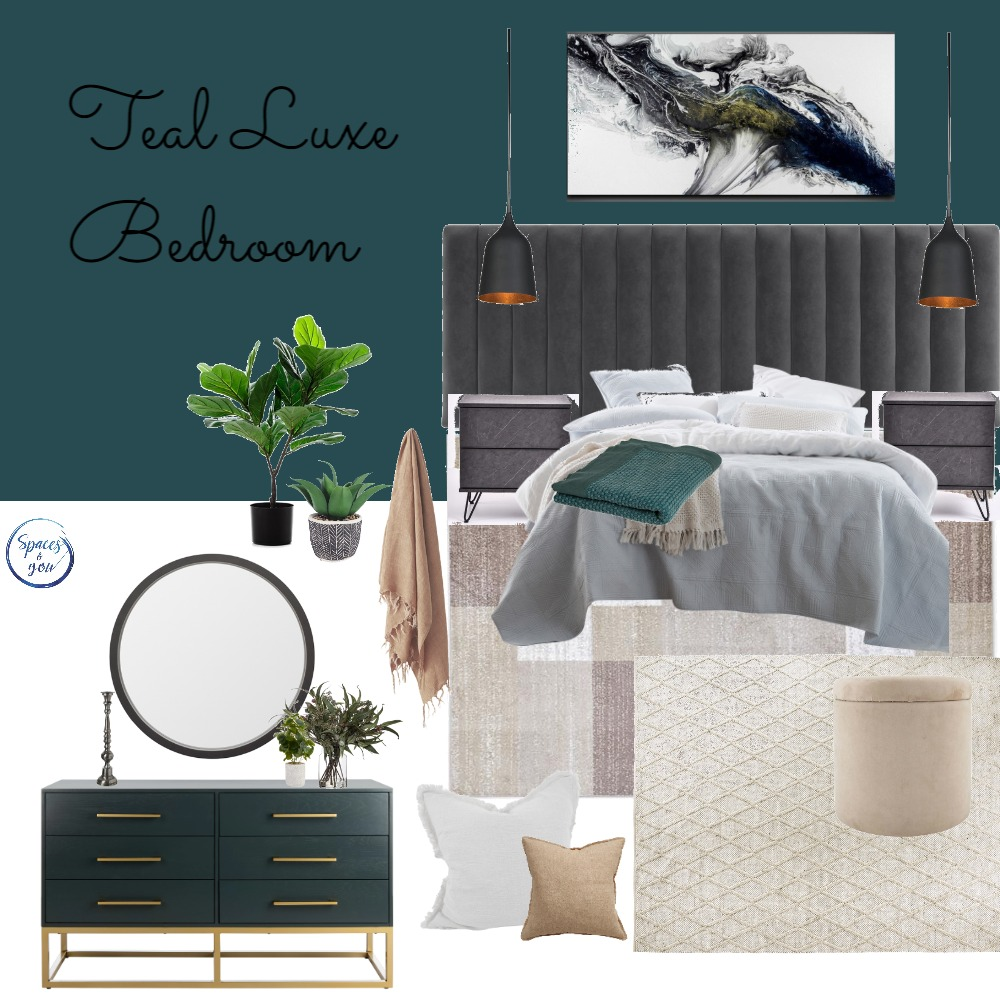 Teal Luxe Master Bedroom Interior Design Mood Board by Spaces&You on Style Sourcebook