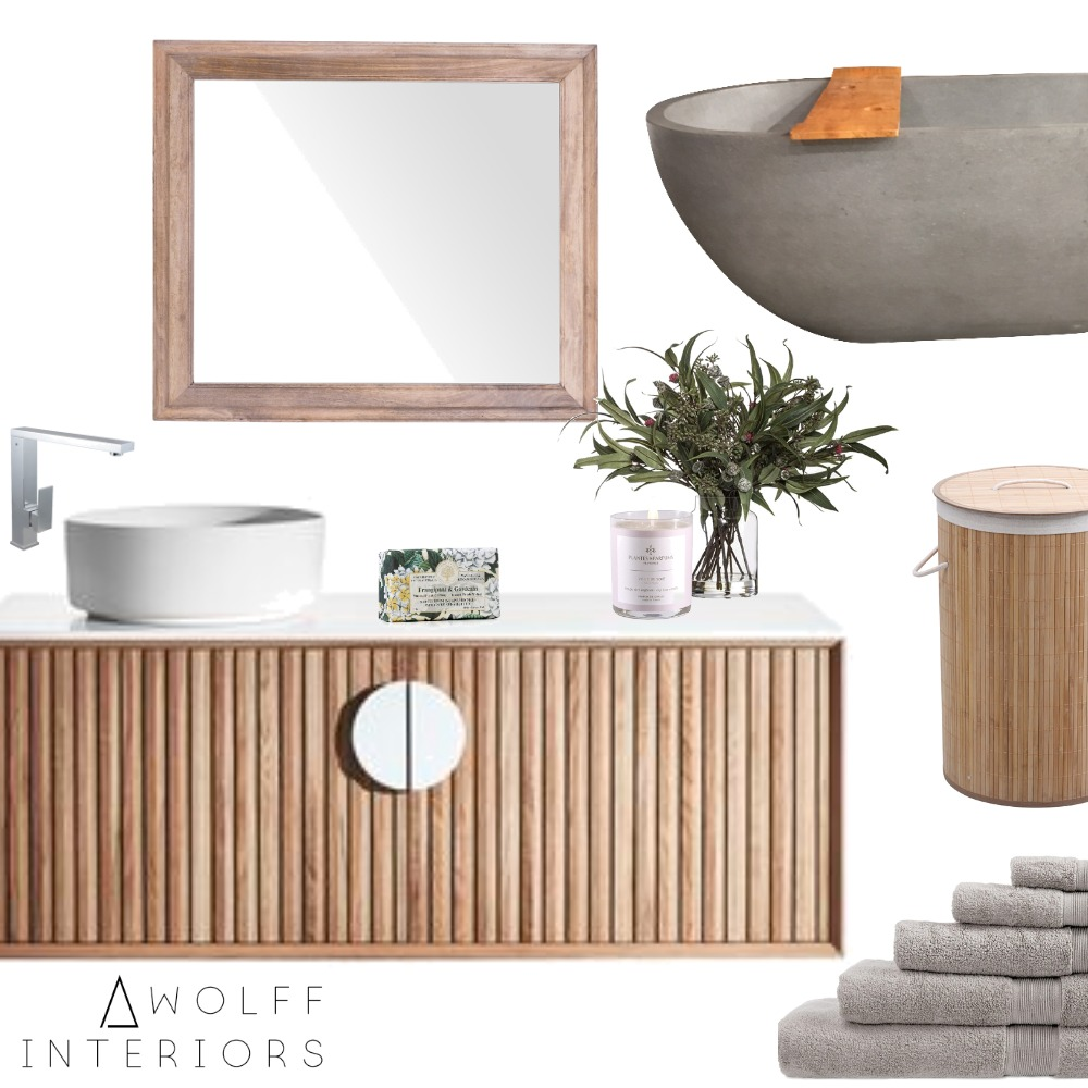 Nautral & Raw Bathroom Interior Design Mood Board by awolff.interiors on Style Sourcebook