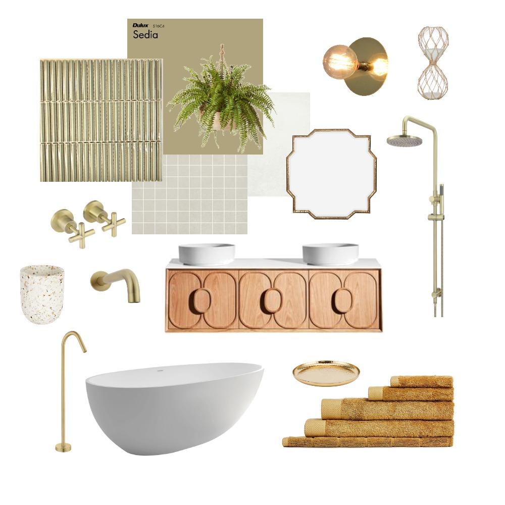 Main Bathroom - Green and Mustard Interior Design Mood Board by elizaraedesigns_ on Style Sourcebook
