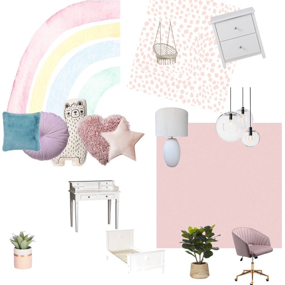 Heather's pastel themed bedroom Interior Design Mood Board by Noseflute on Style Sourcebook