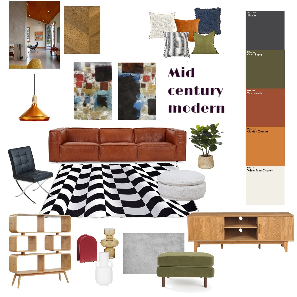 Mid century modern Interior Design Mood Board by Kelseychambers on Style Sourcebook