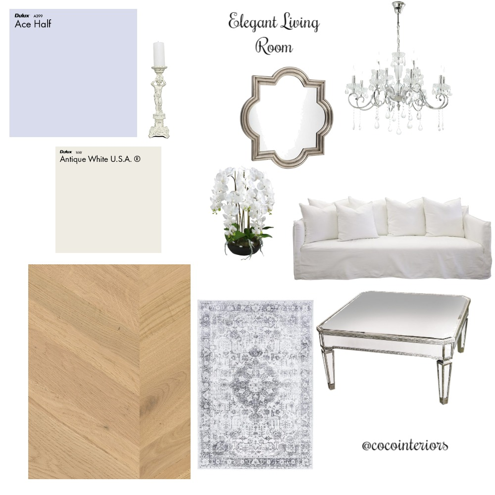 Purple Elegant Living Room Interior Design Mood Board by Coco Interiors on Style Sourcebook