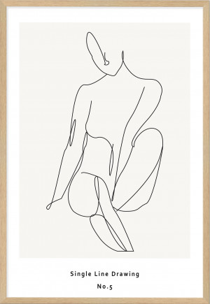 Single Line Art Drawing Abstract Woman by The Paper Tree, a Prints for sale on Style Sourcebook
