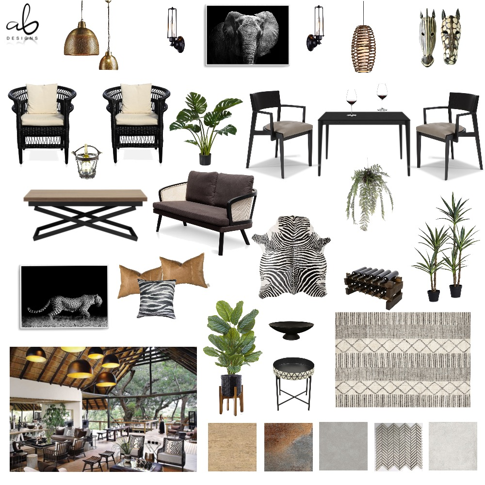 Tribal restaurant Interior Design Mood Board by ABONNEDESIGNS on Style Sourcebook