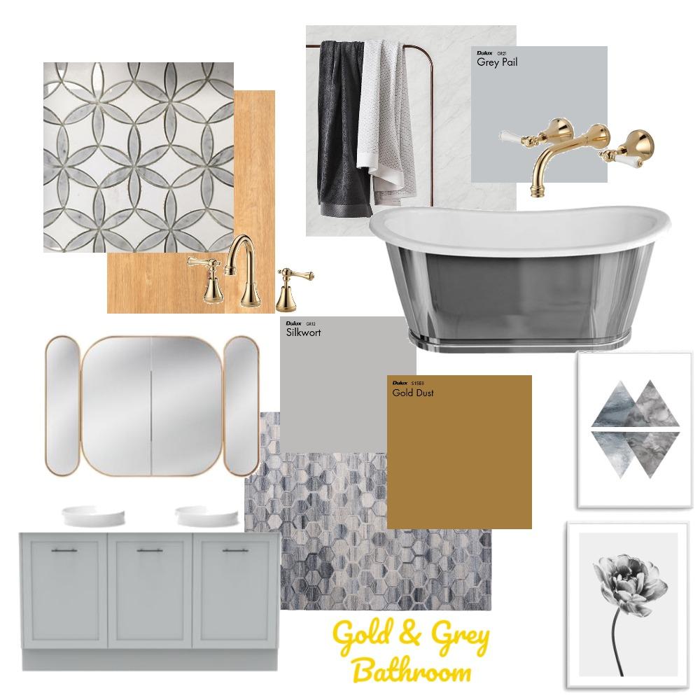 Gold & Grey Bathroom Interior Design Mood Board by DoveGrace on Style Sourcebook
