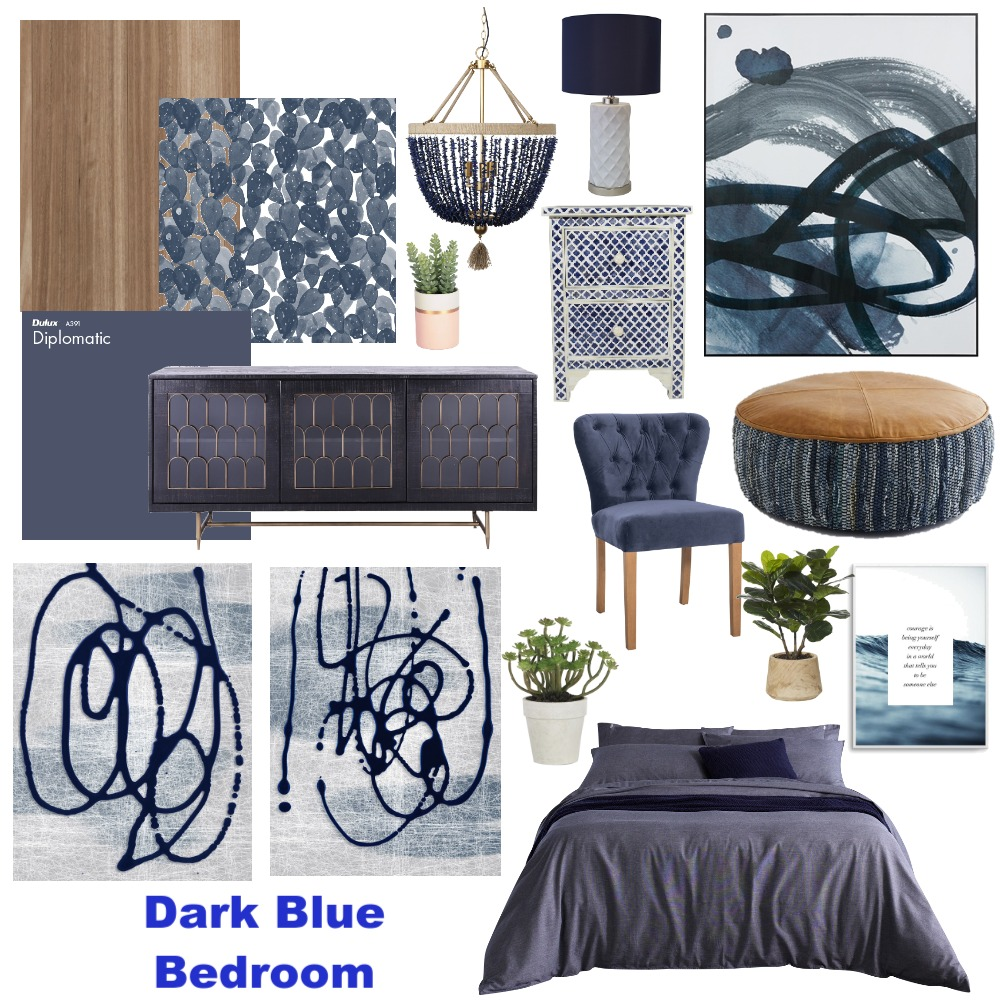 Dark Blue bedroom Interior Design Mood Board by DoveGrace on Style Sourcebook
