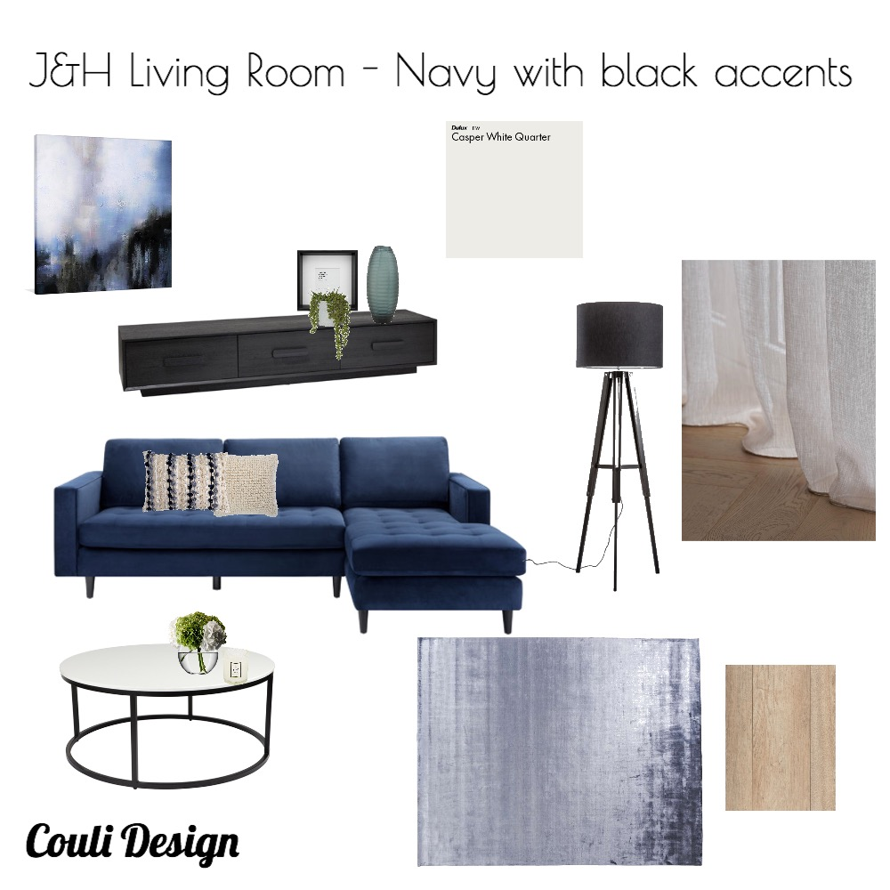 J&H Living Room - Navy with black accents Interior Design Mood Board by Couli Design Interior Decorator on Style Sourcebook