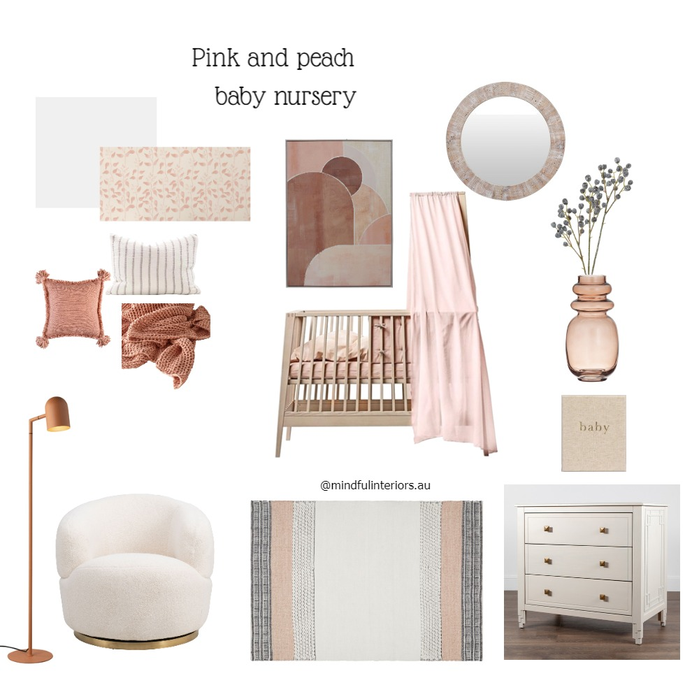 Pink and peach baby nursery Interior Design Mood Board by Mindful Interiors on Style Sourcebook