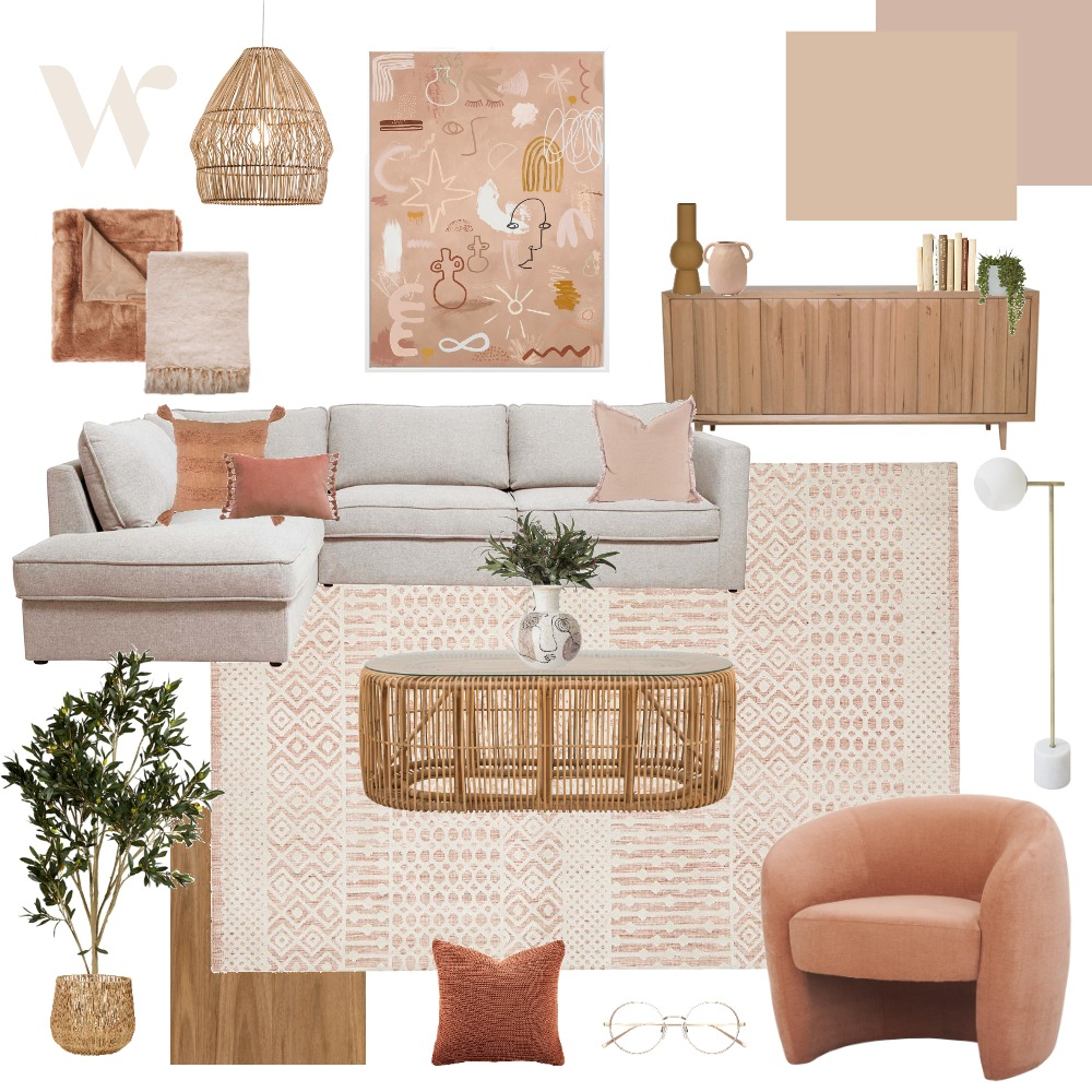 pink & peach Interior Design Mood Board by The Whole Room on Style Sourcebook