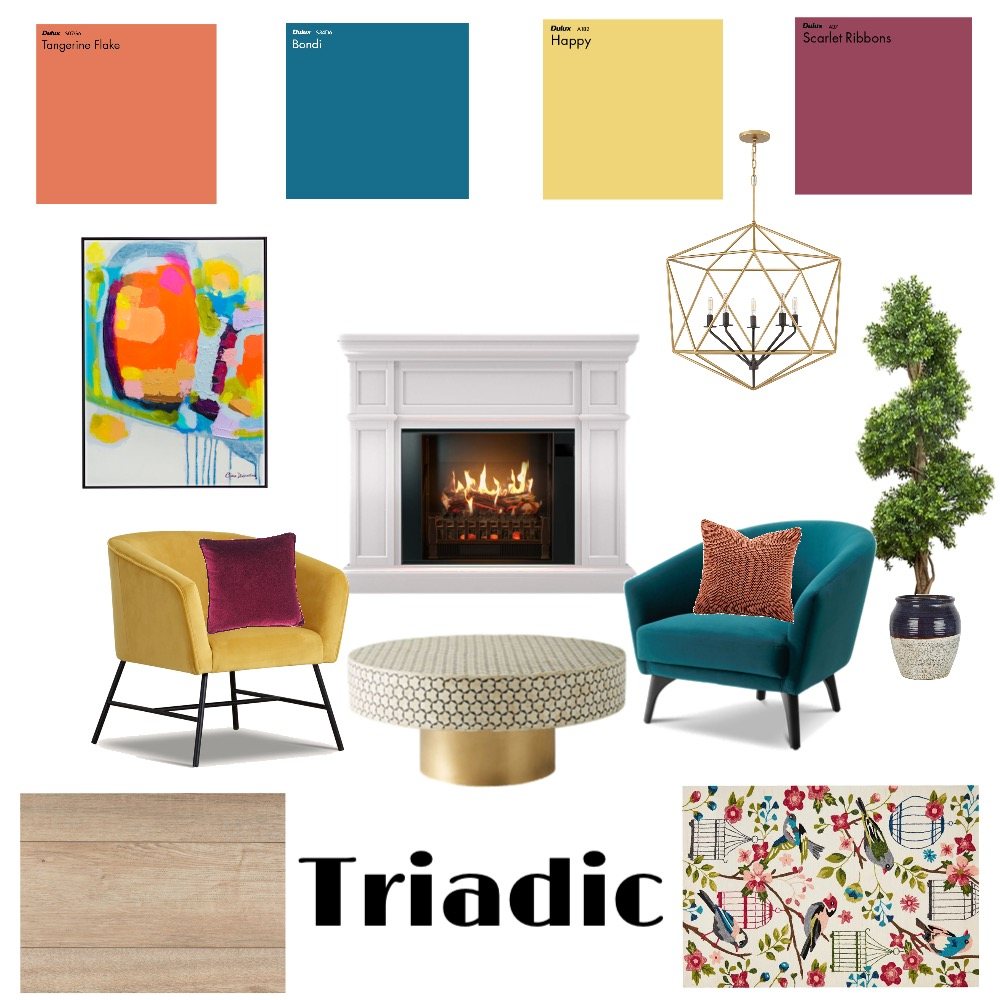 Triadic Interior Design Mood Board by mhperez22 on Style Sourcebook