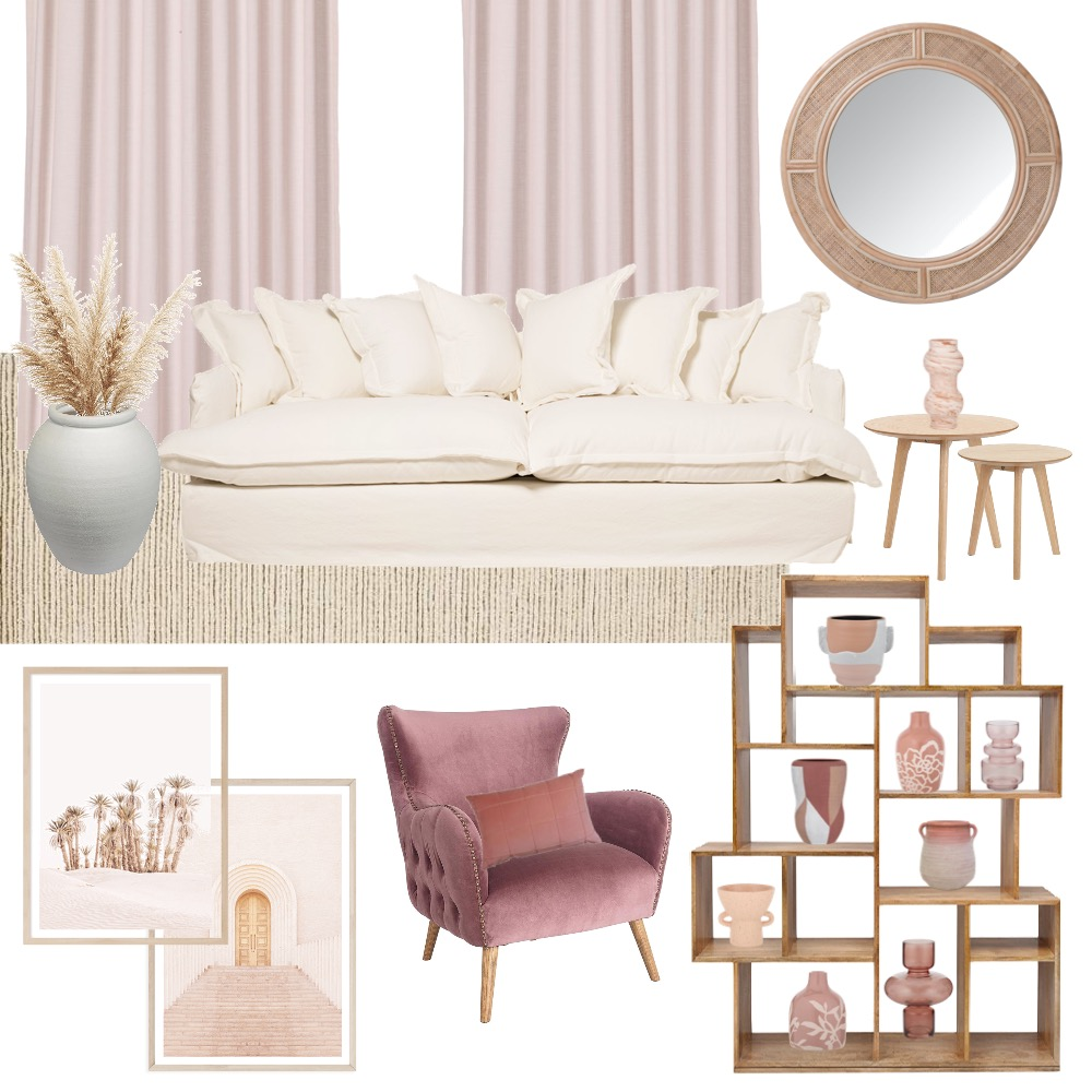 living room pink and peach Interior Design Mood Board by thepalmeffect on Style Sourcebook
