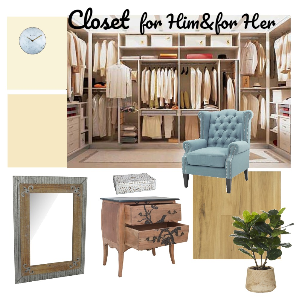 Closet for Him & for Her Interior Design Mood Board by Larissabo on Style Sourcebook