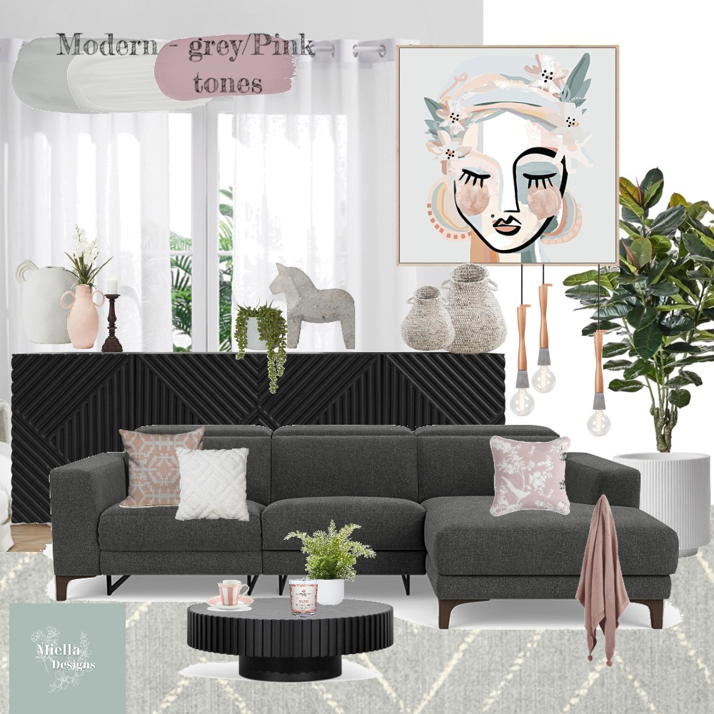 client moodboard - modern - pink tones Interior Design Mood Board by dunscombedesigns on Style Sourcebook