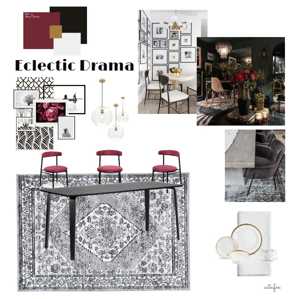 Eclectic Drama Interior Design Mood Board by catnfox on Style Sourcebook