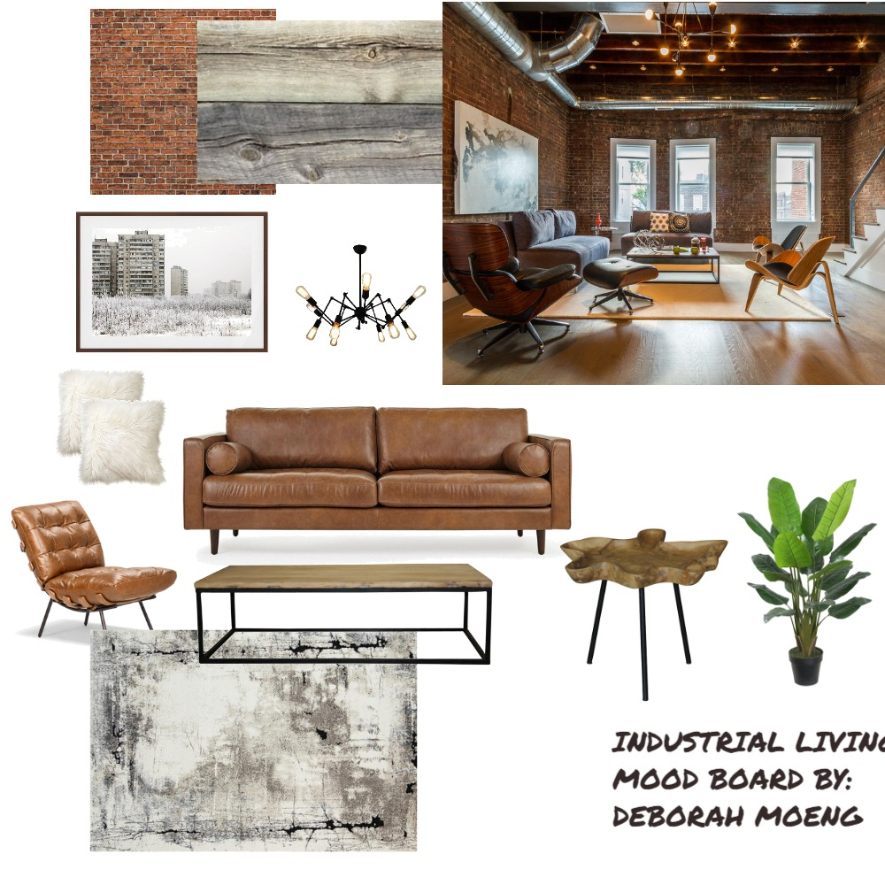 Industrial Living Interior Design Mood Board by DeborahM on Style Sourcebook