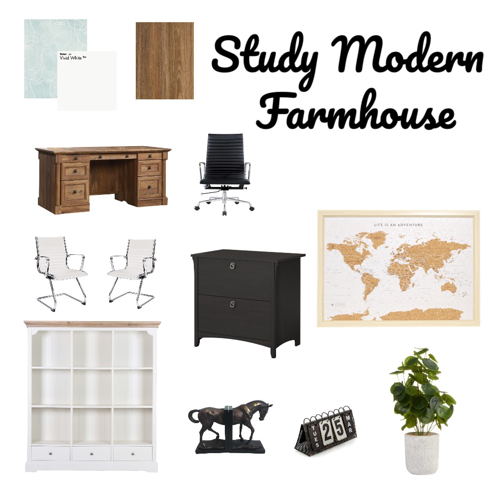 Study Modern Farmhoouse Interior Design Mood Board by jmccanne on Style Sourcebook