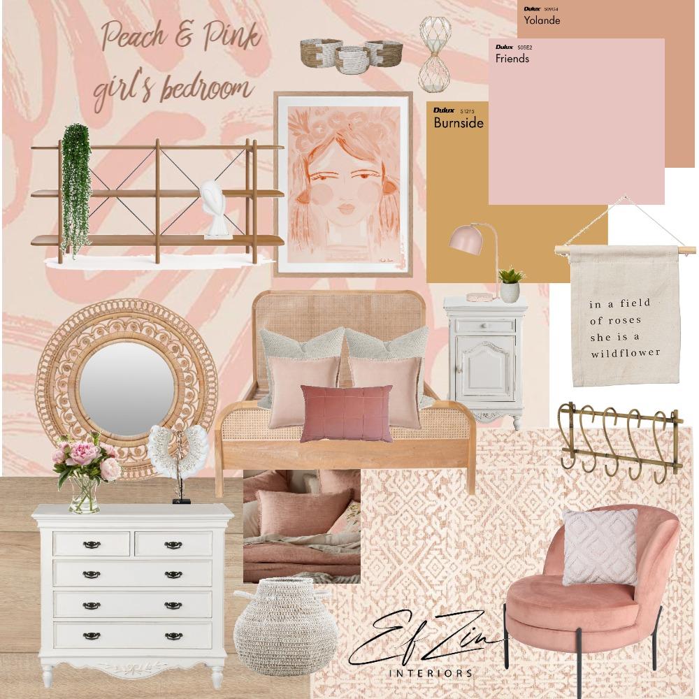 Peach & Pink Girl's Bedroom Interior Design Mood Board by EF ZIN Interiors on Style Sourcebook