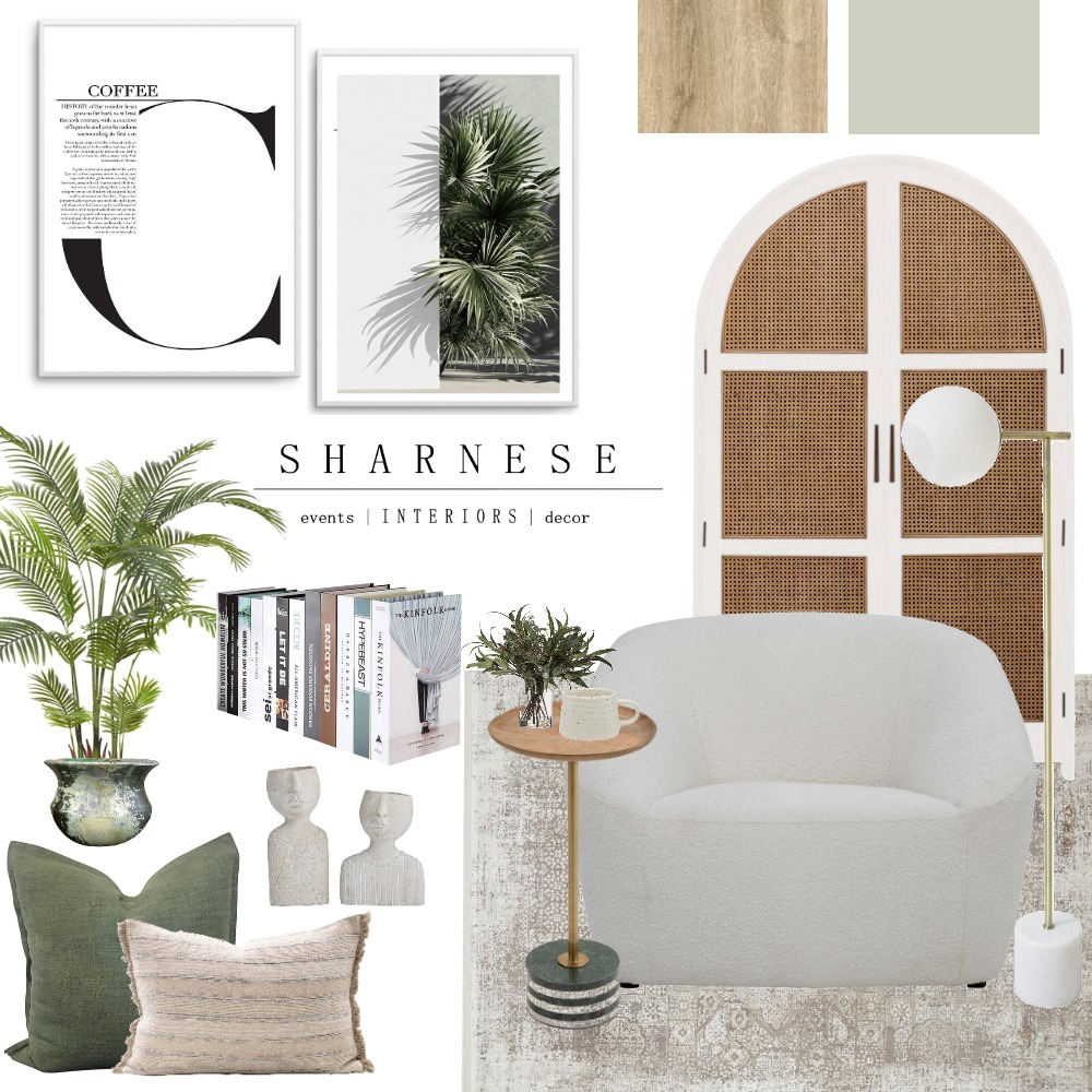 Sage Reading Nook Interior Design Mood Board by Sharnese Interiors on Style Sourcebook
