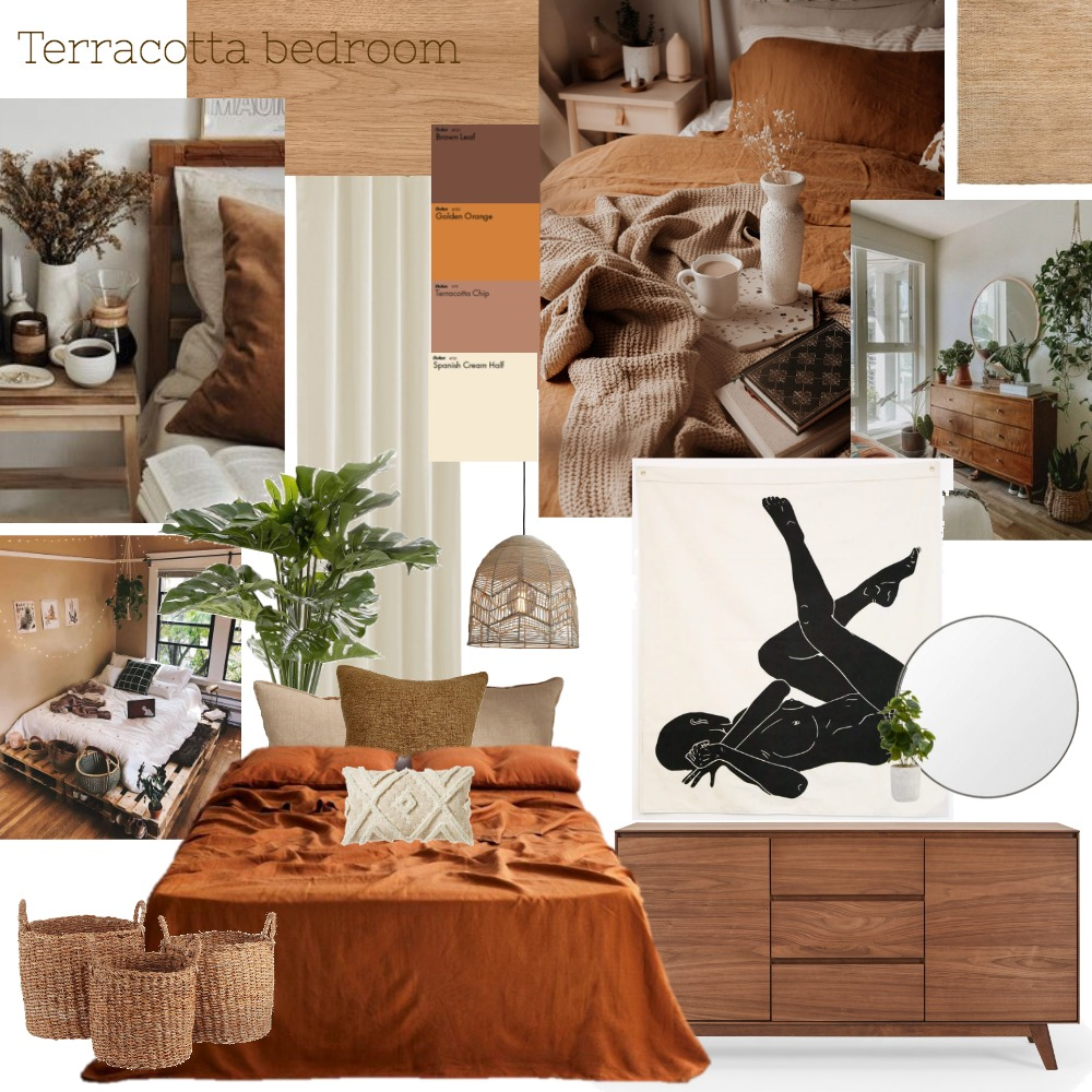 Terracotta Bedroom Interior Design Mood Board by alexoflah on Style Sourcebook