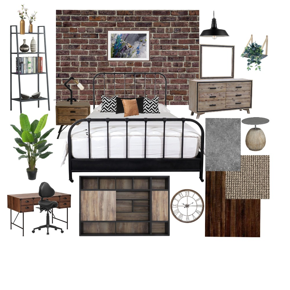 INDUSTRIAL BEDROOM Interior Design Mood Board by payal thakre on Style Sourcebook