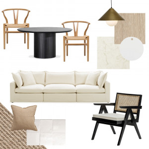 Black, neutral and rattan Interior Design Mood Board by Vienna Rose Styling on Style Sourcebook